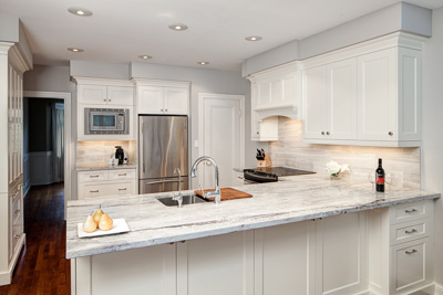 Cabinetry Recessed Panel Mdf Lacquered Finish Cloud White Hardware Polished Chrome Countertop Snow Flakes Granite
